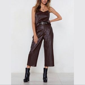 NASTY GAL LEATHER CROP PANT
